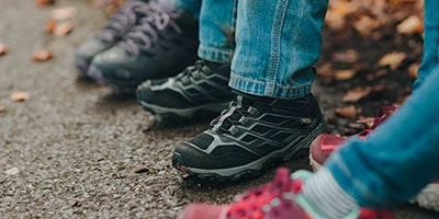 kids feet in the outdoors