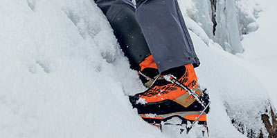 mountaineering boot with crampon
