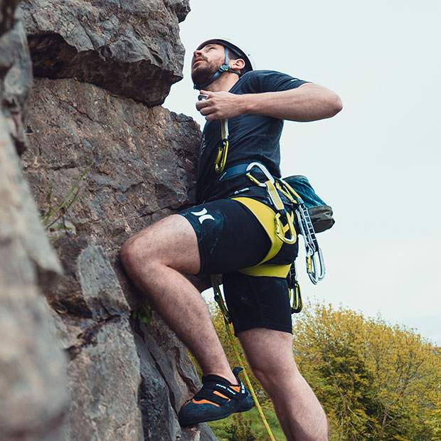 man rock climbing using edelrid bulletproof range