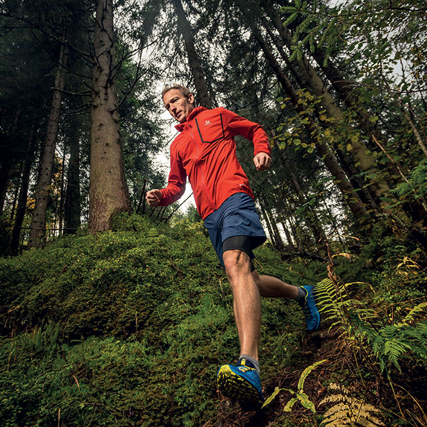 trail runner wearing salomon clothing and footwear