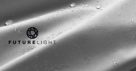 White fabric with water droplets and FUTURELIGHT logo in foreground