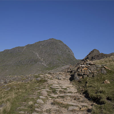 Snowdon with blue skies