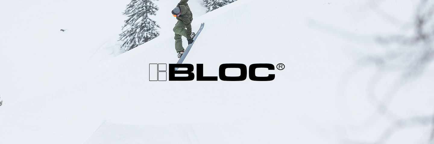 Bloc logo with snowy background