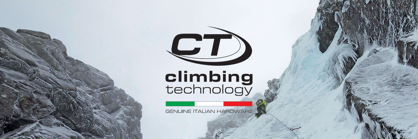 Climbing Technology logo with ice climber on icy crag in background