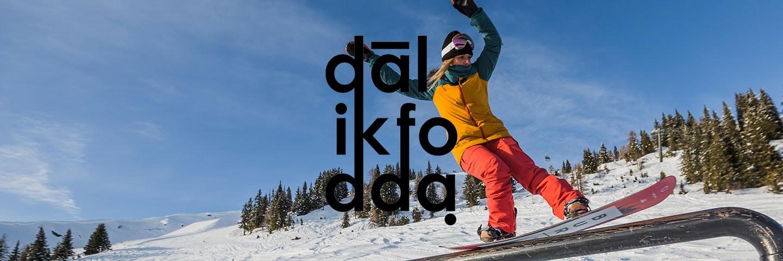 Dalikfodda logo with snowboarder in background