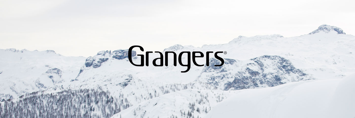 Grangers logo with snow capped mountains behind