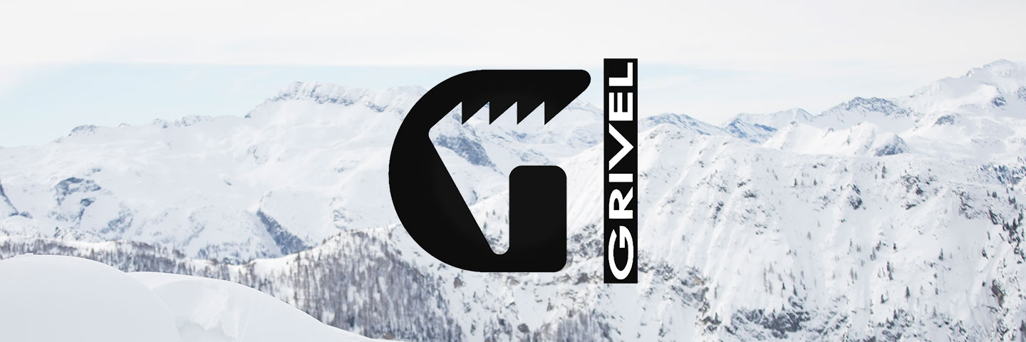 Grivel logo with snow capped mountain background