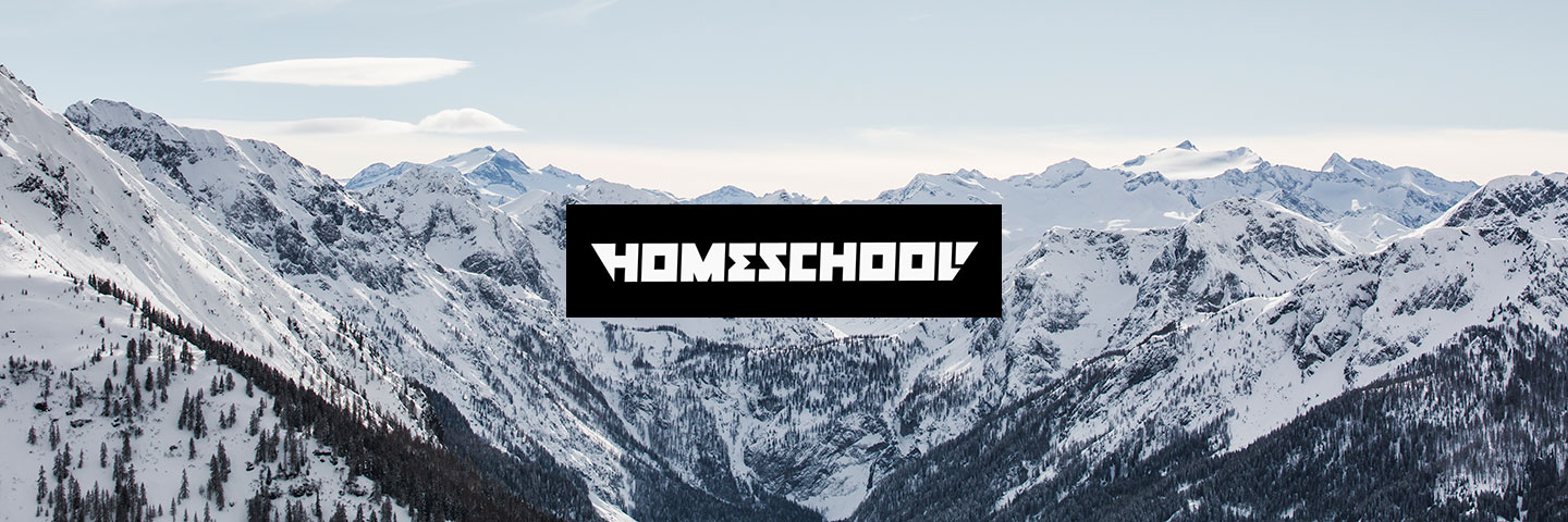 Homeschool logo with snowy mountains in background