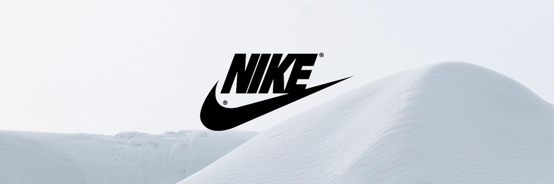 Nike logo with snowy background