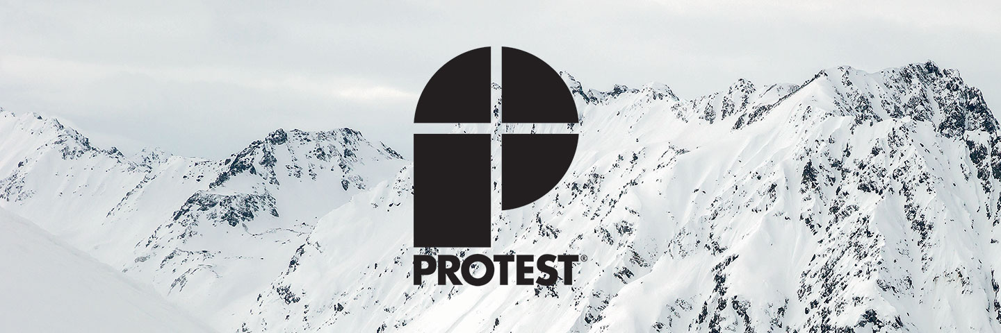 Protest logo with mountains covered in snow behind