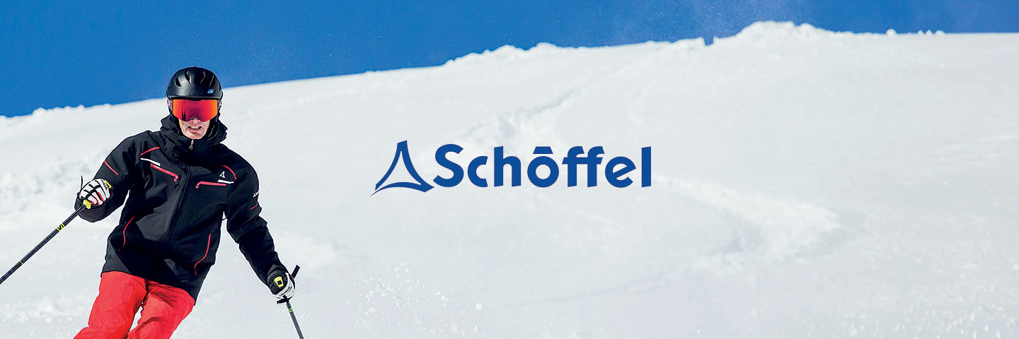 Schoffel logo with skier to one side