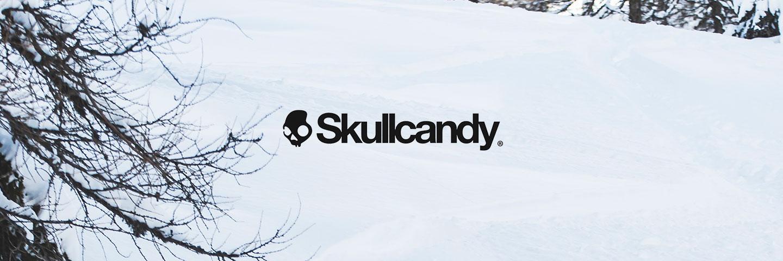 Skullcandy logo with snowy background
