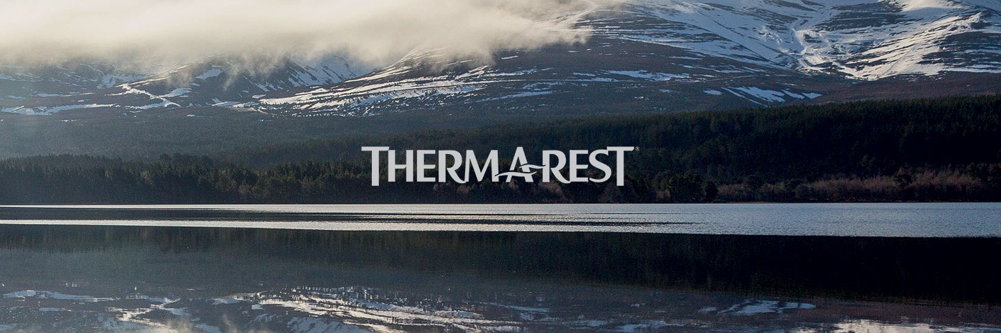Thermarest logo with lake and mountain scene