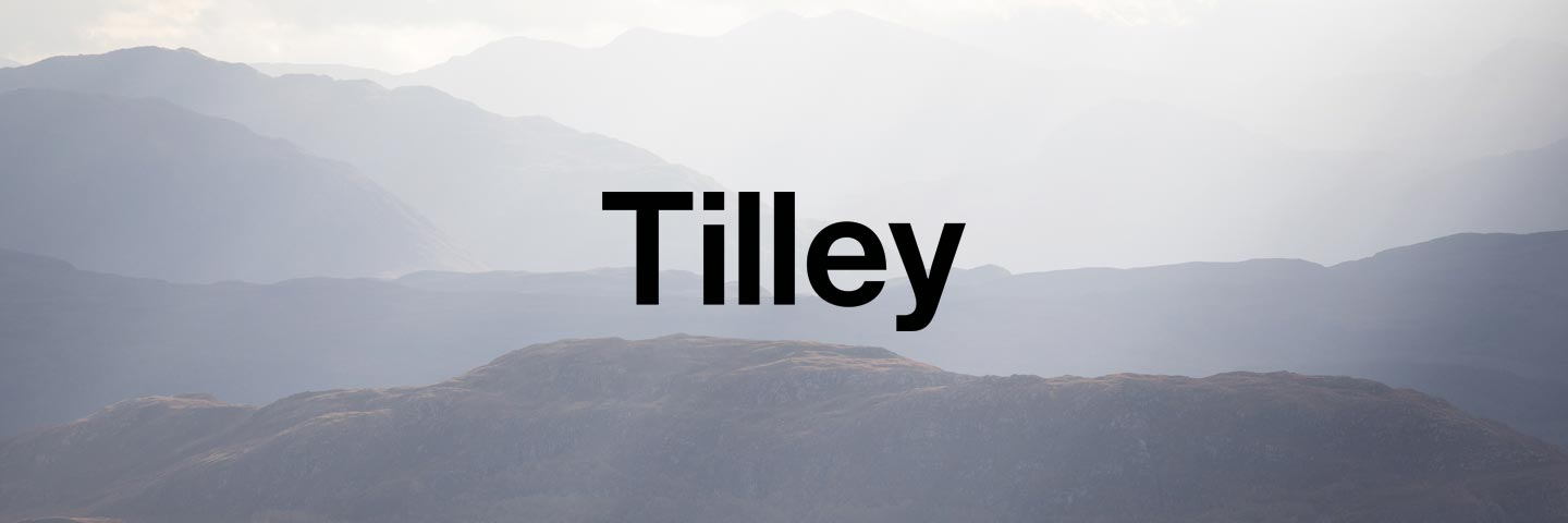 Tilley logo with snowy mountain peaks