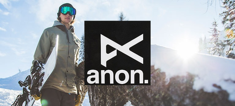 Anon logo with snowy snowboarder in the background