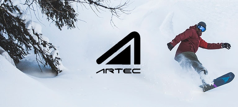 Artec logo with snowboarding background