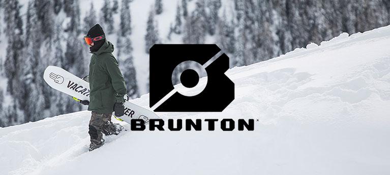 Brunton logo with snowboarder in background