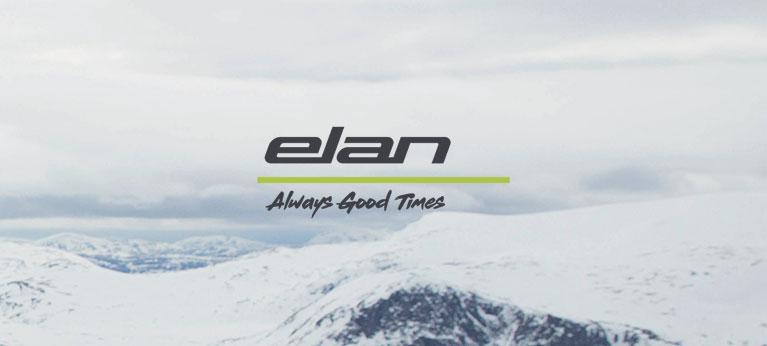 Elan logo with snowy background