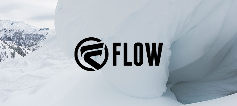 Flow logo with snowy background