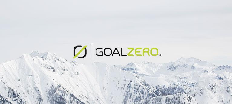 Goal Zero logo with snow capped mountain scenery