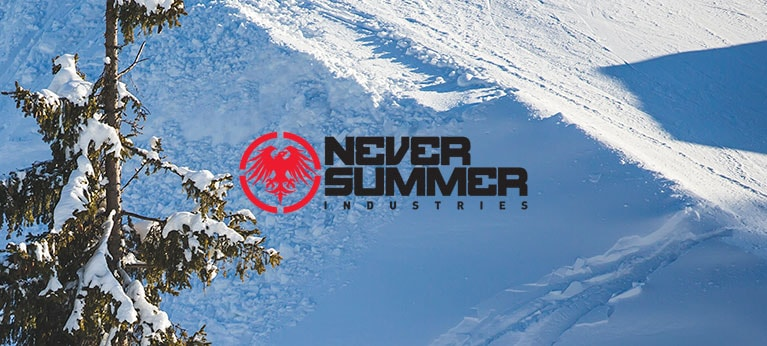 Never Summer logo with wintry background