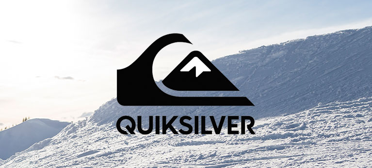 Quiksilver logo with snowy background