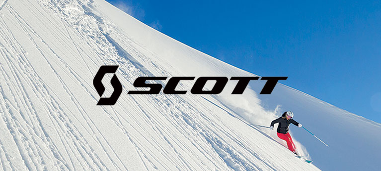Scott logo with skier in background