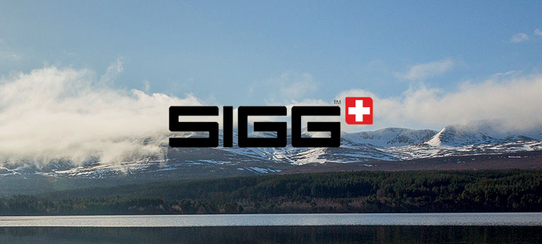 Sigg logo with mountain scene in background