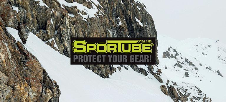 Sportube logo snowy mountain background