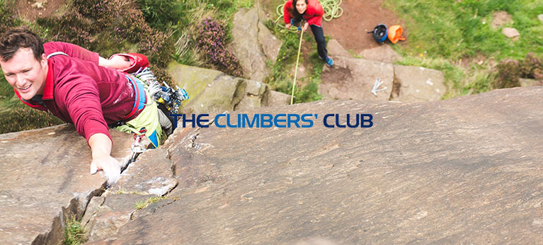 The Climbers Club logo with rock climber in the background