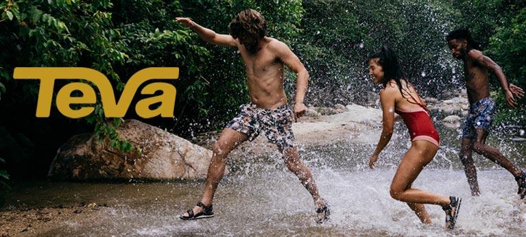 Teva logo with group splashing through water
