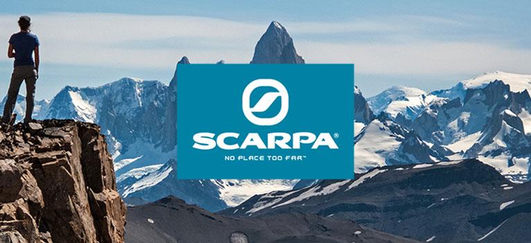 Scarpa Footwear Logo on Mountains