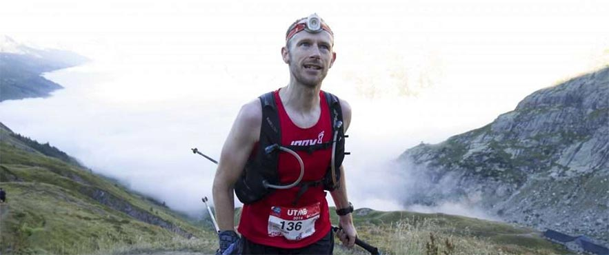 Damian running up Mont Blanc