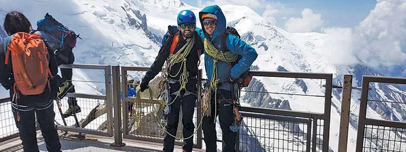Sam Green climbing in the Alps