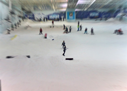 An indoor snowdome