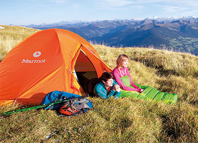 A tent and sleeping bag