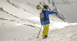 A backcountry skier