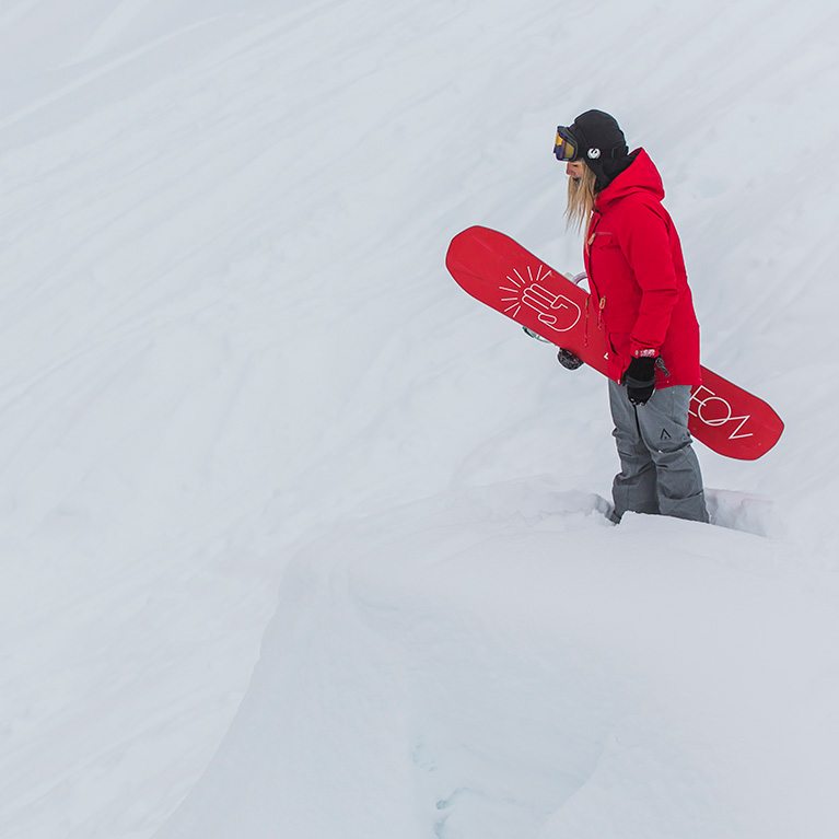 Woman in the latest snowboard clothing
