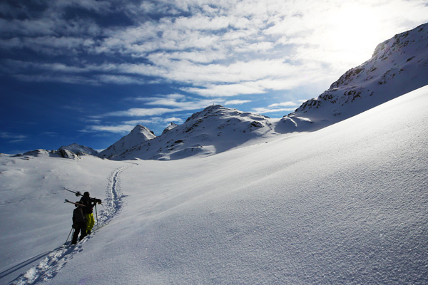 Walking into Kuhtai Backcountry