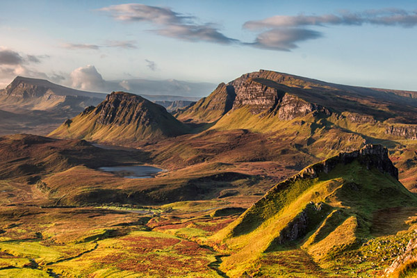 The Trotternish Ridge overlooks a breathtaking landscape.